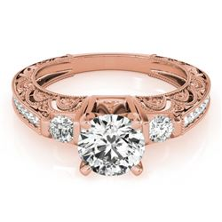 1.38 CTW Certified VS/SI Diamond Solitaire Antique Ring 18K Rose Gold - REF-395N5A - 27283