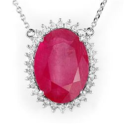 19.25 CTW Ruby & Diamond Necklace 14K White Gold - REF-220W5H - 14186