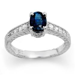 1.63 CTW Blue Sapphire & Diamond Ring 18K White Gold - REF-52M2F - 13925