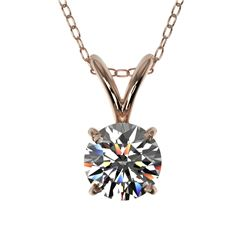 0.53 CTW Certified H-SI/I Quality Diamond Solitaire Necklace 10K Rose Gold - REF-51V2Y - 36721