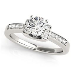 0.61 CTW Certified VS/SI Diamond Solitaire Ring 18K White Gold - REF-119W3H - 27435