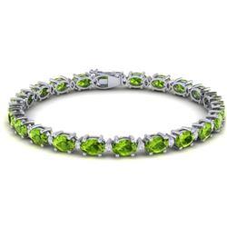 26.3 CTW Peridot & VS/SI Certified Diamond Eternity Bracelet 10K White Gold - REF-174A4V - 29457