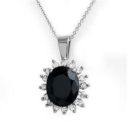 5.20 CTW Blue Sapphire & Diamond Pendant 14K White Gold - REF-87R3K - 14085