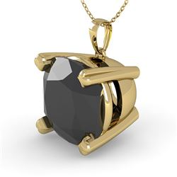 6.0 CTW Cushion Black Diamond Designer Necklace 14K Yellow Gold - REF-131H3M - 38444