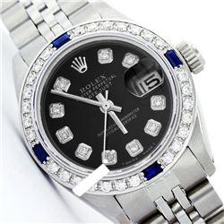 Rolex Men's Stainless Steel, QuickSet, Diam Dial & Diam/Sapphire Bezel - REF-521X4Y