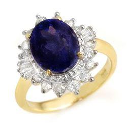 4.85 CTW Blue Sapphire & Diamond Ring 14K Yellow Gold - REF-78M2F - 14300
