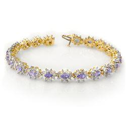 10.0 CTW Tanzanite & Diamond Bracelet 14K Yellow Gold - REF-345N5A - 14445