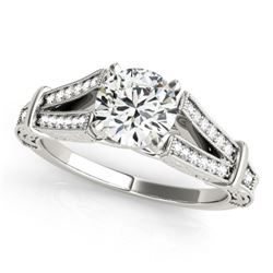 1 CTW Certified VS/SI Diamond Solitaire Antique Ring 18K White Gold - REF-214X2R - 27291