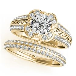 2.41 CTW Certified VS/SI Diamond 2Pc Wedding Set Solitaire Halo 14K Yellow Gold - REF-599M5F - 31243