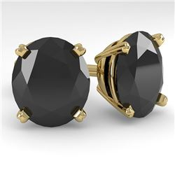 18.0 CTW Oval Black Diamond Stud Designer Earrings 18K Yellow Gold - REF-384M5F - 32338