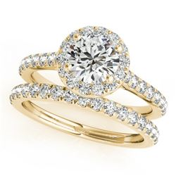 1.42 CTW Certified VS/SI Diamond 2Pc Wedding Set Solitaire Halo 14K Yellow Gold - REF-212V4Y - 30839