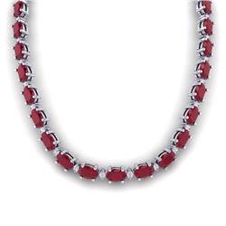 71.85 CTW Ruby & VS/SI Certified Diamond Eternity Necklace 10K White Gold - REF-563R6K - 29515