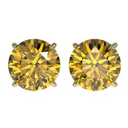 3 CTW Certified Intense Yellow SI Diamond Solitaire Stud Earrings 10K Yellow Gold - REF-555R2K - 331