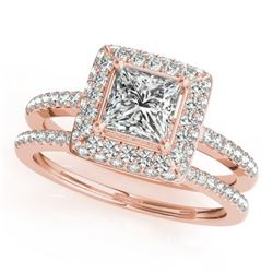 1.21 CTW Certified VS/SI Princess Diamond 2Pc Set Solitaire Halo 14K Rose Gold - REF-227K3W - 31353
