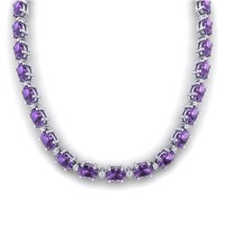 61.85 CTW Amethyst & VS/SI Certified Diamond Eternity Necklace 10K White Gold - REF-275H8M - 29497