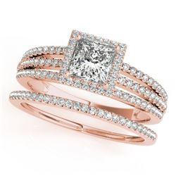 1.30 CTW Certified VS/SI Princess Diamond 2Pc Set Solitaire Halo 14K Rose Gold - REF-242Y9X - 31386