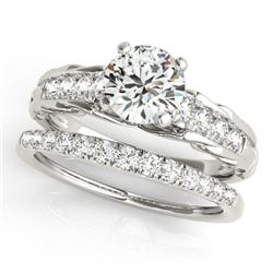1.29 CTW Certified VS/SI Diamond Solitaire 2Pc Wedding Set 14K White Gold - REF-374H9M - 31649