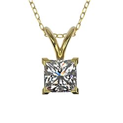 0.50 CTW Certified VS/SI Quality Princess Diamond Necklace 10K Yellow Gold - REF-79X5R - 33168