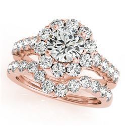 3.36 CTW Certified VS/SI Diamond 2Pc Wedding Set Solitaire Halo 14K Rose Gold - REF-476R5K - 30823