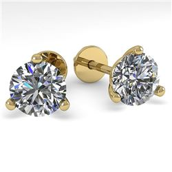 1.53 CTW Certified VS/SI Diamond Stud Earrings 14K Yellow Gold - REF-240F3N - 30572