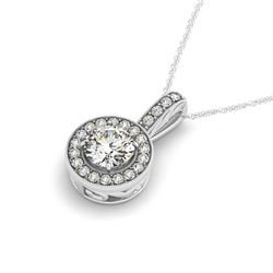 1.60 CTW VS/SI Diamond Solitaire Halo Necklace 14K White Gold - REF-396N9A - 30010