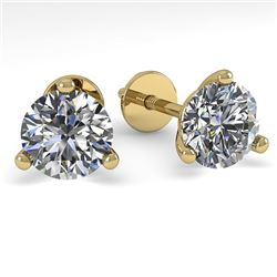 1.0 CTW Certified VS/SI Diamond Stud Earrings 18K Yellow Gold - REF-150W5H - 32200