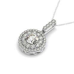 1.85 CTW Certified SI Diamond Solitaire Halo Necklace 14K White Gold - REF-220A9V - 29914