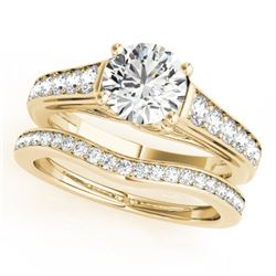 1.20 CTW Certified VS/SI Diamond Solitaire 2Pc Wedding Set 14K Yellow Gold - REF-159R3K - 31624