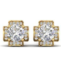 1.85 CTW Certified VS/SI Diamond Art Deco Stud Earrings 14K Yellow Gold - REF-210N2A - 30278