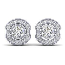 1.50 CTW Certified VS/SI Diamond Art Deco Stud Earrings 14K White Gold - REF-196Y2X - 30540