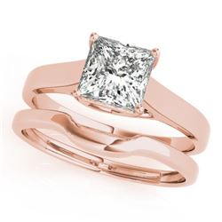 0.75 CTW Certified VS/SI Princess Diamond 2Pc Wedding Set 14K Rose Gold - REF-204R5K - 32103