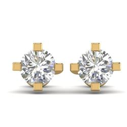 1 CTW Certified VS/SI Diamond Solitaire Stud Earrings 14K Yellow Gold - REF-145V3Y - 30401