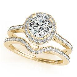 1.80 CTW Certified VS/SI Diamond 2Pc Wedding Set Solitaire Halo 14K Yellow Gold - REF-422W2H - 30815