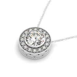 0.50 CTW Certified SI Diamond Solitaire Halo Necklace 14K White Gold - REF-56F2N - 29986