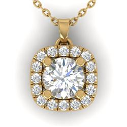 1.01 CTW Certified VS/SI Diamond Stud Halo Necklace 14K Yellow Gold - REF-178F2N - 30425