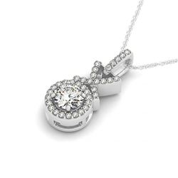 0.78 CTW Certified VS/SI Diamond Solitaire Halo Necklace 14K White Gold - REF-102K2W - 30195