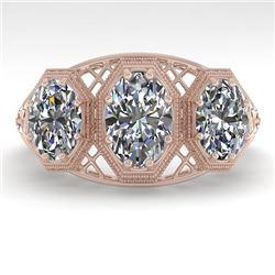 2 CTW Past Present Future VS/SI Oval Cut Diamond Ring 18K Rose Gold - REF-421W6H - 36065