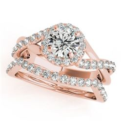 1 CTW Certified VS/SI Diamond 2Pc Wedding Set Solitaire Halo 14K Rose Gold - REF-117X5R - 31059