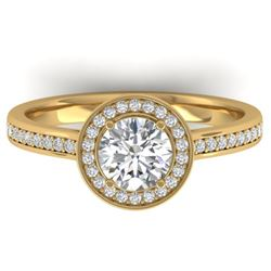 1.10 CTW Certified VS/SI Diamond Solitaire Micro Halo Ring 14K Yellow Gold - REF-188M5F - 30353