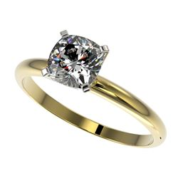 1 CTW Certified VS/SI Quality Cushion Cut Diamond Solitaire Ring 10K Yellow Gold - REF-297R2K - 3290
