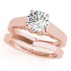 1.25 CTW Certified VS/SI Diamond Solitaire 2Pc Wedding Set 14K Rose Gold - REF-485Y5X - 31863