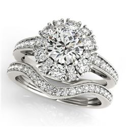 1.94 CTW Certified VS/SI Diamond 2Pc Wedding Set Solitaire Halo 14K White Gold - REF-202M4F - 31121