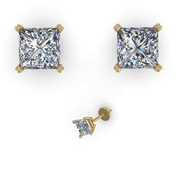1.0 CTW Princess Cut VS/SI Diamond Stud Designer Earrings 18K Yellow Gold - REF-180Y2X - 32278