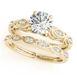 0.94 CTW Certified VS/SI Diamond Solitaire 2Pc Wedding Set Antique 14K Yellow Gold - REF-195M8F - 31