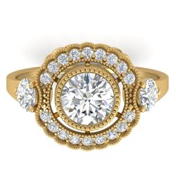 1.90 CTW Certified VS/SI Diamond Art Deco 3 Stone Ring 14K Yellow Gold - REF-411N5A - 30548