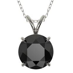 2 CTW Fancy Black VS Diamond Solitaire Necklace 10K White Gold - REF-43R2K - 33233