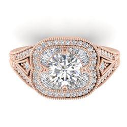 1.95 CTW Certified VS/SI Diamond Art Deco Micro Ring 14K Rose Gold - REF-421H6M - 30505