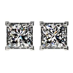 2.50 CTW Certified VS/SI Quality Princess Diamond Stud Earrings 10K White Gold - REF-840R2K - 33114