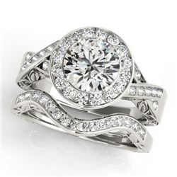 1.89 CTW Certified VS/SI Diamond 2Pc Wedding Set Solitaire Halo 14K White Gold - REF-588W2H - 31307