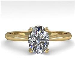 1.02 CTW Oval Cut VS/SI Diamond Engagement Designer Ring 18K Yellow Gold - REF-288F2N - 32413